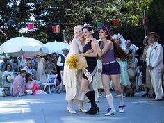 and Jessica and Autumn at The Art Deco Society of California's Gatsby Summer Picnic.  --2002