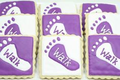 Love these Walk to End Alzheimer's cookies - Adorable! Alzheimer's Walk, Walk To End Alzheimer's, Alzheimers Awareness, Cancer Awareness, Alz Walk, Alzheimer's Association, Jungle Theme Parties, Edible Cookies, Purple Party