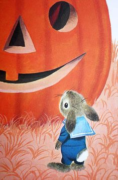 richard scarry bunny in sailor suit standing by huge pumpkin Richard Scarry, Halloween Art, Holidays Halloween, Vintage Halloween, Halloween Decorations, Halloween Illustration, Children's Book Illustration, Beatrix Potter, Bunny Art