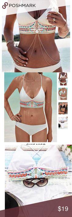 Chicnico Boho Bikini Bohemian Swimsuit Large White Chicnico Boho Bikini Floral Print Bohemian Style Swimsuit Large White  L: USA:12/14 BUST:35.5-38.5 HIP:37.5-40.5  Specifications  MATERIAL: 84%Nylon+16%Spandex ELASTICITY: Stretchable NOTICE: Hand wash Chicnico Swim Bikinis