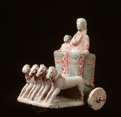 Votive Chariot: Polychrome quadriga. 6th century B.C. From Cyprus. Museo Barracco, Rome, Italy.