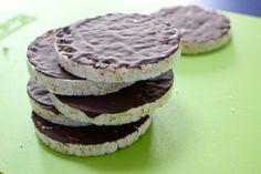 Rijstwafels met chocolade, een lactosevrij tussendoortje