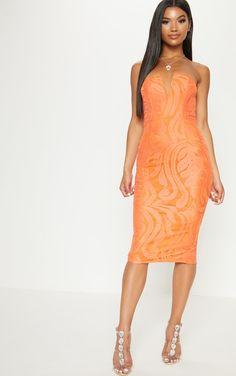 Bright Orange Lace V Bar Bandeau Midi Dress 2770f5b72