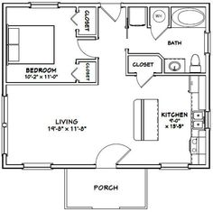 Guest House Plans, Small House Floor Plans, Cabin Floor Plans, 1 Bedroom House Plans, Tiny Cottage Floor Plans, Guest Cottage Plans, 20x30 House Plans, Small Bathroom Floor Plans, Small Cabin Plans