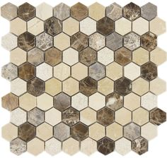 Dream Gallery Hexagon Brown Polished & Unpolished Stone Tile