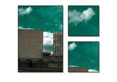 """Art and Architecture Photography, 3 Framed Photograph Set: 14x10, 6x6 and 6x6"""", Sculpture Photogrphy, Wall Art, Blue Sky & Clouds Photgraph"""