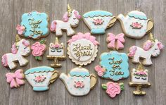 Tea for two birthday party with unicorns!!! #unicorncookies #teapartycookies #teafortwo #decoratedcookies #cookiesofinstagram #laurenscookieboutique