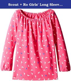 Scout + Ro Girls' Long Sleeve Novelty Shirred Neck Knit Top, Lollipop, 4. This Scout + Ro long-sleeve knit top in allover bird-and-dot pattern features a shirred neckline.