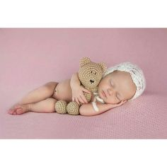 Newborn 79/365 Newborn girl on pink backdrop newborn with bonnet newborn with teddy bear Utah newborn photographer www.twocolorphotography.com