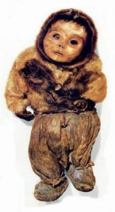 This infant was found in Greenland along with other bodies of women and children,mummified by cold