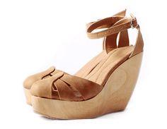 Plataforma Madera Zapatos Mujer Zapatos cuero por EmmaShoesSS
