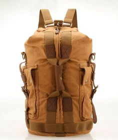 vintage canvas hiking travel military backpack messenger tote bagThis handmade bag is made with selected materials.A truly one of a kind item.This bag is made with selected materials.A truly one of a kind item.You can go to shopping, travel, go to the library, you can use it, is very convenient and suitable for men, women and couples. The inner room has much space to carry a laptop, an Ipad, cosmetic bag, cell phone as well as many accessaries.Internal structure: cell ph...