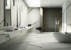 Marble Italia Ltd is a London based supplier of bespoke natural stone for commercial and residential projects. We are specialized in Carrara marble and Botticino marble: tiles for flooring or wall coverings, kitchen top, staircase, vanity top and more. Minimalist Bathroom, Modern Bathroom, Master Bathroom, Marble Bathrooms, Statuario Marble, Calacatta, Carrara Marble, Diy Bathroom Decor, Bathroom Interior