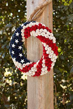 Patriotic Wood Curl Wreath