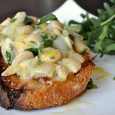 Meyer Lemon and Gigante Bean (aka ButterBean) Open Faced Sandwiches #Vegan