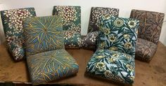 Wonderful Bruce Goold fabric adds great colour & exuberance to a set of Paul Kafka dining chairs.