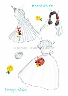Here Comes The Bride Vintage Inspired Paper Doll by YellowRoseDBS*** Paper dolls for Pinterest friends, 1500 free paper dolls at Arielle Gabriel's International Paper Doll Society, writer The Goddess of Mercy & The Dept of Miracles, publisher QuanYin5