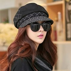 Fashion plaid newsboy cap for winter womens wool beret hat