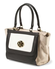 Leather Colorblock Satchel Emma Fox $149.99 I MUST Have this~~