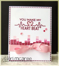 Smiling while Stamping: Heart Beat handmade love/anniversary/heart card using My Favorite Things Keep On Rockin' stamp set