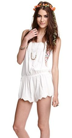 Rompers we love This pretty white romper is boho chic. Pair with a cute bandeau, strappy sandals and a flower crown