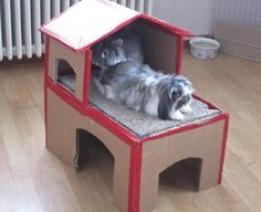 Cats Toys Ideas - Bunny hidey house made of cardboard! Make sure its stable and doesnt slide, when bunny jumps. - Ideal toys for small cats Bunny Cages, Cat Cages, Rabbit Cages, House Rabbit, Rabbit Toys, Pet Rabbit, Rabbit Cage Diy, Indoor Rabbit House, Diy Pour Lapin