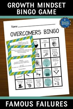 Help upper elementary students develop a growth mindset by introducing them to 30 overcomers who experienced one or more failures on their paths to fame, fortune, and success. Includes bingo, charts, and more! Bingo Games For Kids, Learning Games For Kids, Teaching Social Studies, Teaching Resources, Famous Failures, Growth Mindset Activities, Space Movies, Back To School Activities, School Spirit