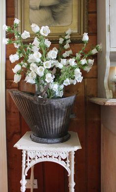 Coal bucket vase in our kitchen dining area