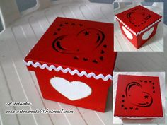 Caixa de MDF vermelha coração vasado
