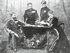 Carol I with his brother Leopold, Prince of Hohenzollern, Leopold's son Ferdinand, future heir to Romania's throne in and Queen Elisabeth. [from Hohenzollern-Sigmaringen - A Family Album] Brisbane, Romanian Royal Family, Victorian Life, Al Capone, Spring Awakening, Family Album, Royal House, Queen Mary, Royal Weddings