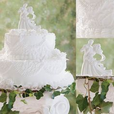 Grace: Timeless elegance is yours with these two tiers, topped with rich buttercream icing in Cornelli Lace and scalloped draping accented with full blooming white roses circled by white leaves.