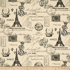 Premier Prints French Stamp Onyx/Natural Fabric By The Yard
