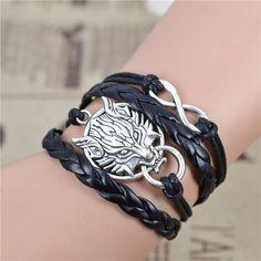 Wolf Leather Bracelet