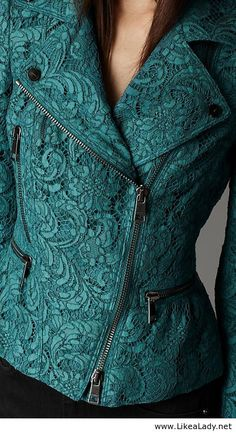 Cropped lace biker jacket