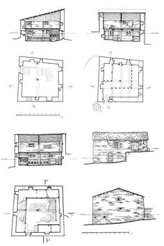 Drawing of the machubi stableshome in Chazhashi (Ushguli): floor plans, elevations, cross-sections.