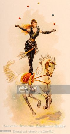 A vintage postcard illustration, a souvenir from the Barnum & Bailey Circus, 'The Greatest Show on Earth', whilst on its European tour, featuring a performer juggling whilst standing on a trotting horse, circa 1900.