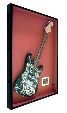 Guitar onto a black matted frame Wall decor / home decor / Instruments / Concert / Music / Custom frame