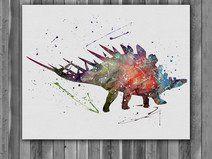 Stegosaurus Dinosaur print watercolor