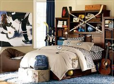 kids room, Interior Bedroom Design Ideas Cream Wall Bedroom Decor Blue Curtains Glass Window With Wood Frame Picture On The Wall Brown Pouf Boy Bedroom Ideas Cozy Bed Blue Rug Bedroom Furniture Small Bedroom Ideas: Captivating of Modern Boys Room with Functional Bed