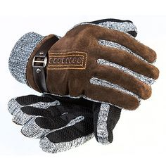 Leewin Pigskin Leather Warm Men's Gloves Windproof Korea Style Thicken Velvet for Christmas Day, iphone gloves, texting gloves 44gloves.