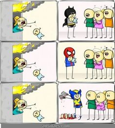 Caricaturas graciosas - No es fácil ser super héroe