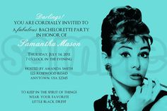 Breakfast and Tiffany's Bridal Shower Invitation. $1.00, via Etsy.