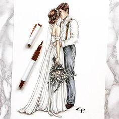 Custom Bride and Groom Illustration - Ink and Coloured Pencil Illustration Wedding Drawing, Wedding Art, Wedding Couples, Pen Sketch, Drawing Sketches, Art Drawings, Couple Sketch, Couple Drawings, Pencil Illustration