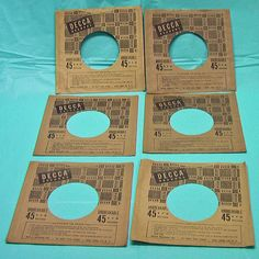 """Decca Records Paper Sleeves Large Lot 6 45 RPM Music 7"""" Vintage 1950's Brown"""