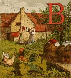 B (for Beehive) ~ Antique Woodblock Print date: 1870
