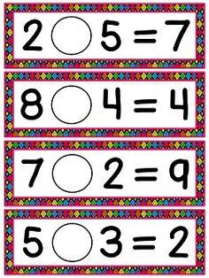 Choose an operation - add or subtract - math center. super fun and cute! 1st Grade Math, First Grade, Grade 1, I Love School, School Fun, Math Classroom, Maths, Balancing Equations, Addition Strategies