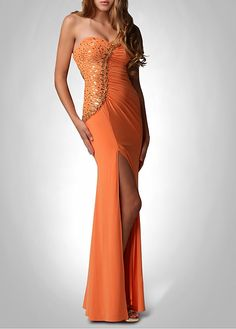 Stunning Chiffon Sheath Sweetheart Bust Beaded Accent Ruched Fitted Front Split Prom Dress