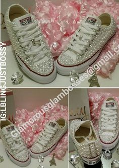 Pearl and Bling Rhinestone Converse by LBLINGJUSTBOSSY on Etsy