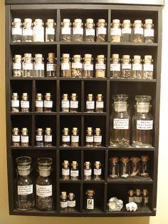Small glass vials containing various types of small meteorite fragments - used for making micromounts.