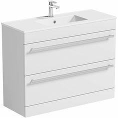 Odessa White Floor Mounted 1000 Drawer Unit & Basin